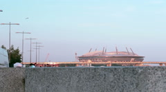 Giant Stadium Zenit Arena. View from Behind the Fence Stock Footage