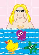 Mobster bathing with cute toys Stock Illustration