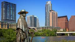 Stevie Ray Vaughan Statue in Front of Downtown Austin, Texas and Colorado Riv Kuvituskuvat