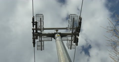 Close up of cableway in the blue sky Stock Footage