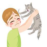Cat Scratching Boy Stock Illustration