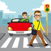 Pedestrian Smartphone Accident Stock Illustration