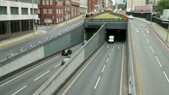 UK inner city traffic underpass. Stock Footage