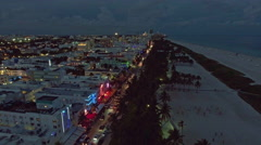 Aerial view of illuminated Ocean Drive and South beach, Miami, Florida, USA Stock Footage