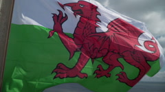 Welsh Flag Slow Motion Stock Footage