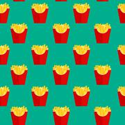 Fast Food Fried French Gold Fries Potatoes in Paper Wrapper Seam Stock Illustration