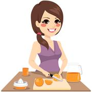 Woman Preparing Orange Juice Stock Illustration