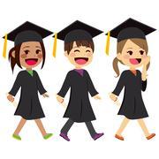 Graduation Kids Walking Stock Illustration