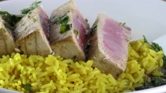 Ahi Tuna steak with  rice Stock Footage