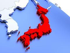 Japan on world map Stock Illustration