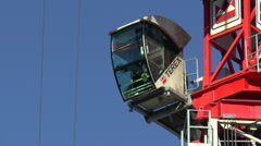 Crane Cab with Operator performing Manoeuver Stock Footage