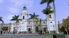 The Cathedral of Lima on Plaza de Armas Stock Footage