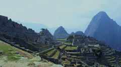 Medium shot of the Inca town of Machu Picchu Stock Footage