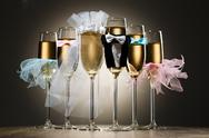 Composition of stylized glasses with champagne for wedding party Stock Photos