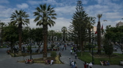 Time lapse of Plaza de Armas in Arequipa, Peru Stock Footage