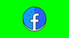 8k - Cartoon Facebook icon logo symbol, on green screen Stock Footage