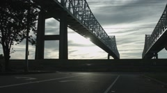 Bridge Extra Wide With Road and Levy Stock Footage