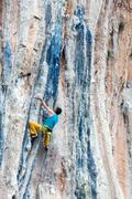 Mature Rock Climber ascending steep colorful rocky Wall Lead Climbing Stock Photos