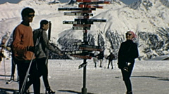 St. Moritz, Switzerland 1967: people walking in the ski slopes Stock Footage