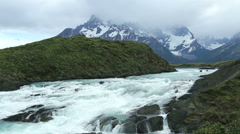 Medium shot of a waterfall in Torres del Paine NP Stock Footage