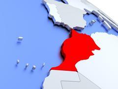 Morocco on world map Stock Illustration