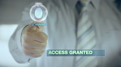 Granted and Businessman passing biometric verification with fingerprint scanner Stock Footage