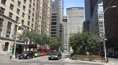 View up Park Ave towards the MetLife builidng& Grand Central Terminal, New York. Stock Footage