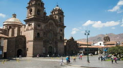 Time lapse of the monastery on Plaza de Armas in Cusco, Peru Stock Footage