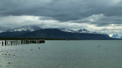 Wide-angle view of the lake from Puerto Natales, Chile Stock Footage