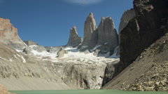 Time lapse of clouds over the Torres at Torres del Paine NP, Chile Stock Footage