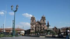 Winde-angle view of Plaza de Armas in Cusco, Peru Stock Footage