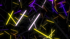 Trip into space of colorful neon lights Stock Footage