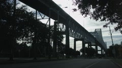 Bridge, Wide, Tilt Down From Tree Stock Footage