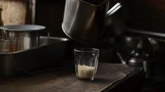 Drip thai coffee.Brew thai Coffee is black coffee. Stock Footage