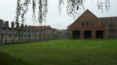 Buildings and gas chamber of Auschwitz concentration camp in Poland Stock Footage