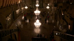Aerial top view long shot of St. Kinga's Chapel, deep in the Wieliczka salt mine Stock Footage