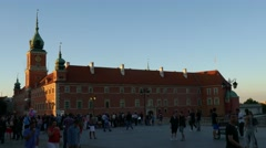 Right to left pan shot of crowd of people walking in the old town of Warsaw Stock Footage