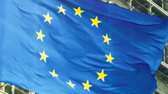 European Union flags in front of European Commission, Brussels. Zoom out Stock Footage