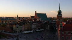 Aerial drone view long shot of old town to center of Warsaw capital of Poland Stock Footage