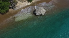 Aerial close up of beach Playa Forti, Curacao Stock Footage