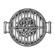 Barbecue grill top view with charcoal. Stock Illustration