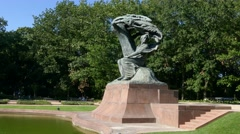 A right to left pan of Polish pianist - Frederic Chopin monument Warsaw, Poland Stock Footage