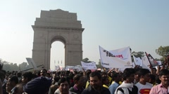 Protesting pubic in delhi Stock Footage