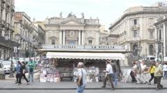 La Sicilia newstand in Catania, Sicily, Italy. Stock Footage