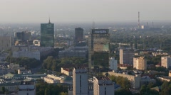 Aerial drone view of center and commercial part of Warsaw the capital of Poland Stock Footage