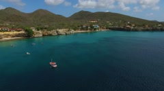 Aerial overview of Playa Forti, Curacao Stock Footage
