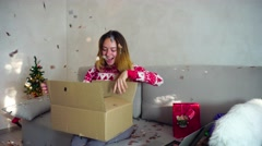 Delivery Package to Young Girl Portrait Smile Open Box Online Shopping on Stock Footage