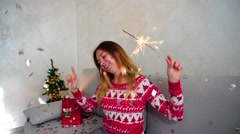 Young Girl Portrait Smile to Camera, Look Sparklers, Bengal Fire Christmas Tree Stock Footage