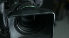Studio camera at a broadcast news studio Stock Footage