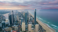 4k timelapse video of Gold Coast, Australia from day to night Stock Footage